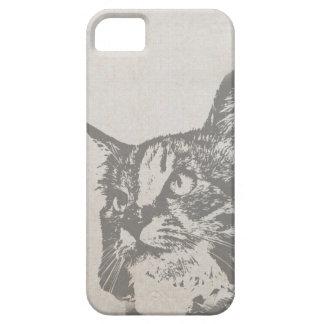 Ejemplo blanco y negro del gato del vintage iPhone 5 funda