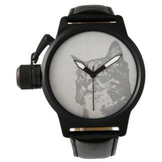 Ejemplo blanco y negro del gato del vintage relojes