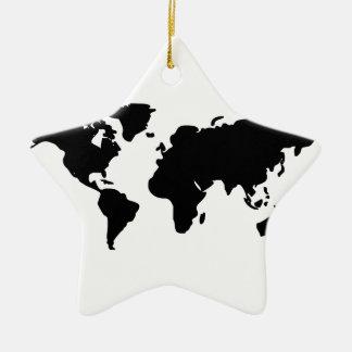 Ejemplo blanco y negro del mundo adorno navideño de cerámica en forma de estrella