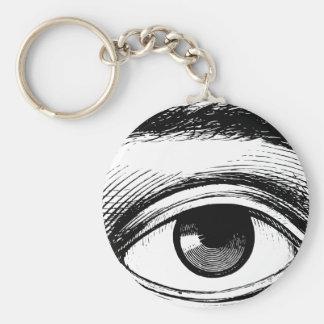 Ejemplo blanco y negro del ojo del vintage de la d llavero redondo tipo pin