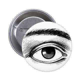 Ejemplo blanco y negro del ojo del vintage de la d pin redondo de 2 pulgadas