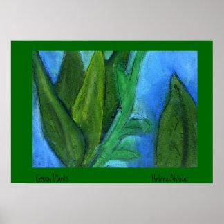 ejemplo botánico de la textura, plantas verdes   … póster