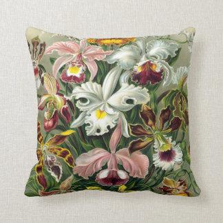 Ejemplo botánico de las orquídeas del vintage 1865 almohadas