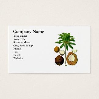 Ejemplo botánico del árbol de coco tarjetas de visita