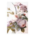 ejemplo botánico del vintage, color de rosa rosado papelería