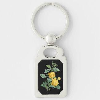 Ejemplo botánico del vintage del rosa amarillo llaveros