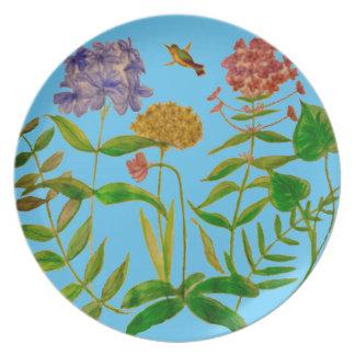 Ejemplo botánico en las placas de cena platos