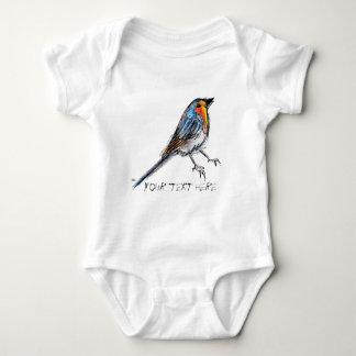 Ejemplo caprichoso del petirrojo del pájaro body para bebé
