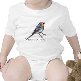 Ejemplo caprichoso del petirrojo del pájaro trajes de bebé