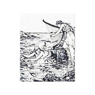 Ejemplo céltico del cuento de hadas de la sirena impresión en tela