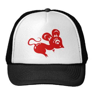 Ejemplo chino de la rata de la astrología gorros bordados