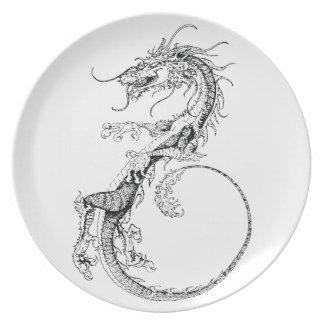 Ejemplo chino del dragón platos