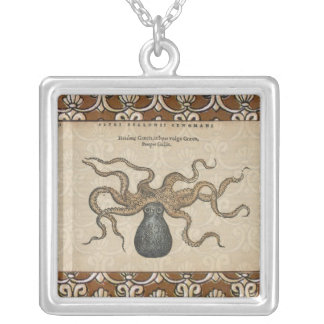 Ejemplo científico del vintage de Kraken del pulpo Colgante Cuadrado