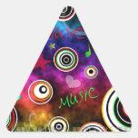 Ejemplo colorido de la música calcomanías trianguloes