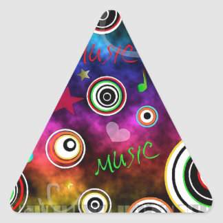 Ejemplo colorido de la música pegatina triangular