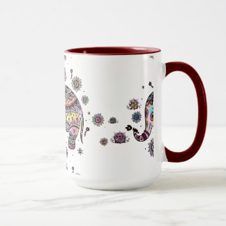 Ejemplo colorido lindo del elefante del bebé taza
