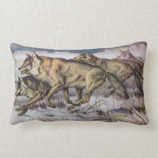 Ejemplo corriente del vintage de los lobos almohada