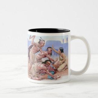 Ejemplo de atacar americano de los indios taza de café de dos colores