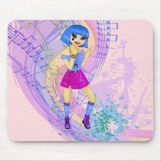 Ejemplo de baile de la moda con el pelo azul mousepads