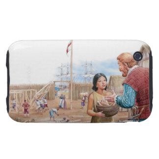 Ejemplo de capitán que visita Juan de Pocahontas Carcasa Resistente Para iPhone
