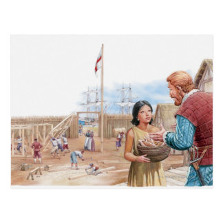 Ejemplo de capitán que visita Juan de Pocahontas Postales