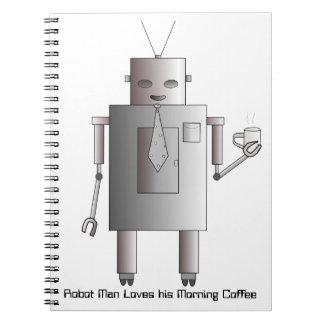 Ejemplo de consumición del café del robot retro libretas
