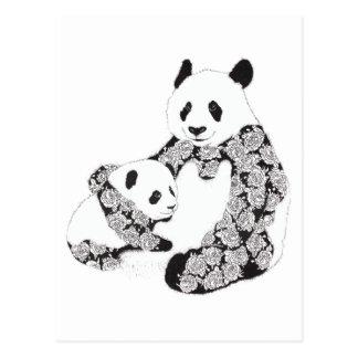 Ejemplo de Cub de la madre y del bebé de la panda Tarjeta Postal