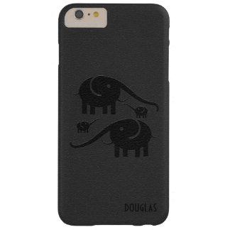 Ejemplo de cuero negro del elefante de la mirada funda de iPhone 6 plus barely there