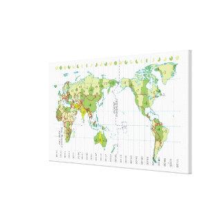 Ejemplo de Digitaces del mapa del mundo que muestr Impresión De Lienzo