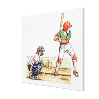 Ejemplo de dos jugadores de béisbol impresiones en lona