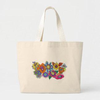 Ejemplo de flores, bolso del dibujo animado de bolsa tela grande