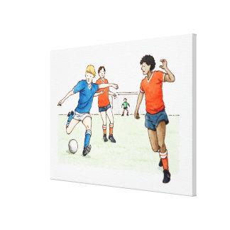 Ejemplo de jugar de los futbolistas impresión de lienzo
