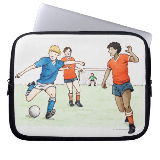 Ejemplo de jugar de los futbolistas mangas portátiles