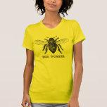 Ejemplo de la abeja de trabajador del vintage playeras