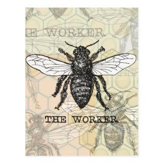 Ejemplo de la abeja de trabajador del vintage postales