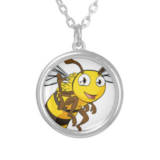 Ejemplo de la abeja del dibujo animado collar plateado