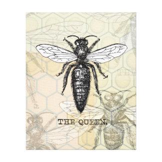 Ejemplo de la abeja reina del vintage impresión en tela