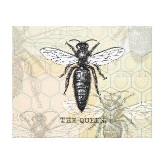 Ejemplo de la abeja reina del vintage impresiones en lona estiradas