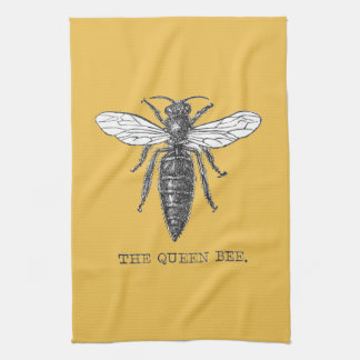Ejemplo de la abeja reina del vintage toalla de cocina