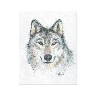 Ejemplo de la acuarela del lobo impresión en lona