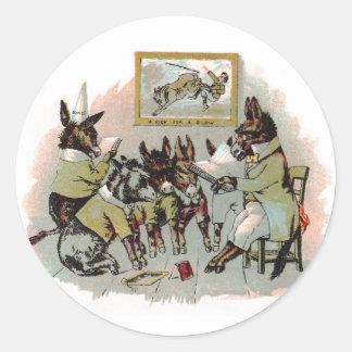 Ejemplo de la antigüedad de la escuela del burro etiquetas redondas