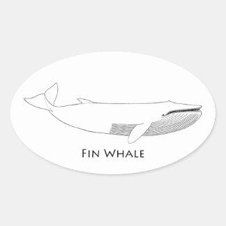Ejemplo de la ballena de aleta pegatina ovalada