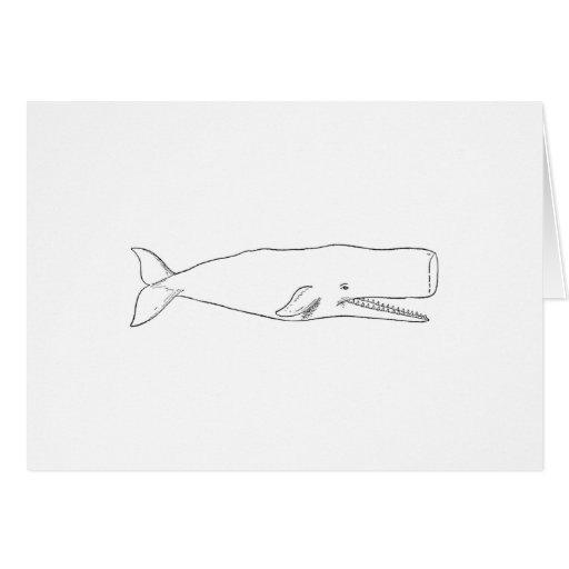 Ejemplo de la ballena de esperma (línea arte) tarjeta de felicitación
