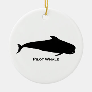 Ejemplo de la ballena experimental (blackfish) adorno navideño redondo de cerámica