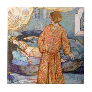 Ejemplo de la bella durmiente del cuento de hadas azulejo cerámica