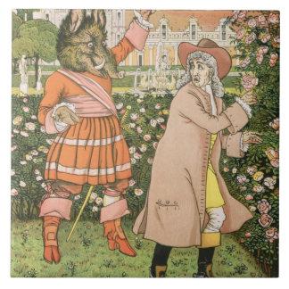 Ejemplo de la belleza y de la bestia, 1901 (colo azulejo cuadrado grande