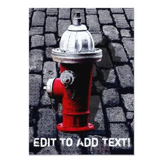 """Ejemplo de la boca de incendios de Nueva York Invitación 5"""" X 7"""""""