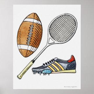 Ejemplo de la bola de rugbi, estafa de tenis, póster