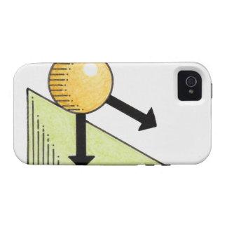 Ejemplo de la bola que baja una cuesta, flechas iPhone 4/4S funda