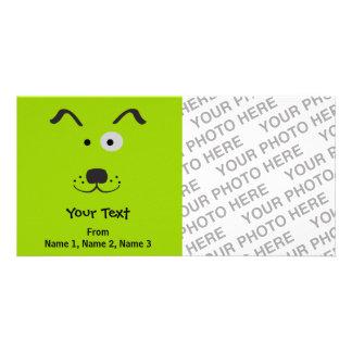 Ejemplo de la cara del perro del dibujo animado plantilla para tarjeta de foto